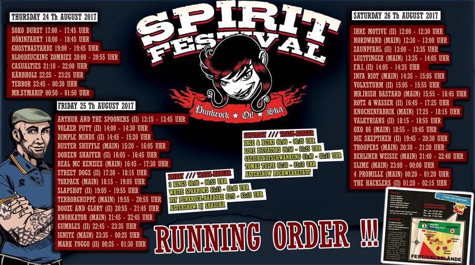 SPIRIT FESTIVAL RUNNING ORDER!